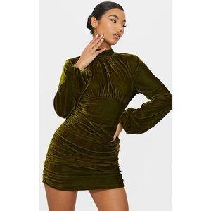 BNWT PrettyLittleThing Ruched Velvet Mini Dress